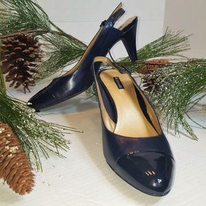 Alex Marie Sling-back Navy Blue Heels